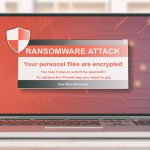 Computer screen with warning of a ransomware attack